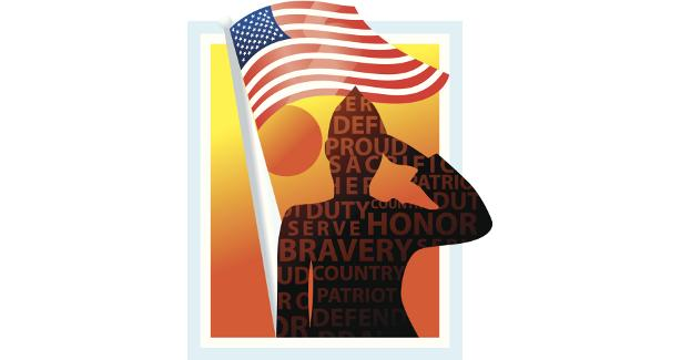 Silhouette of a soldier saluting the flag