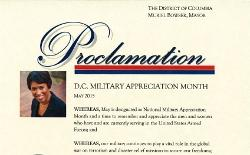 image of the DC Military Appreciation Month Proclamation